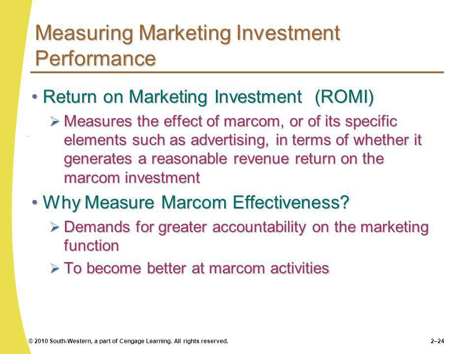 © 2010 South-Western, a part of Cengage Learning. All rights reserved.2–24 Measuring Marketing Investment Performance Return on Marketing Investment (