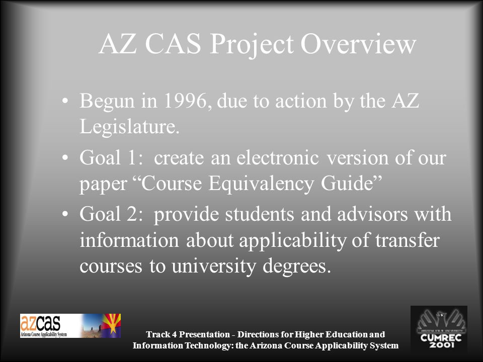 Track 4 Presentation - Directions for Higher Education and Information Technology: the Arizona Course Applicability System AZ CAS Project Overview Begun in 1996, due to action by the AZ Legislature.