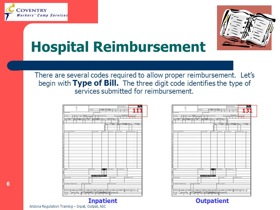 6 Arizona Regulation Training – Inpat, Outpat, ASC Hospital Reimbursement There are several codes required to allow proper reimbursement. Lets begin w