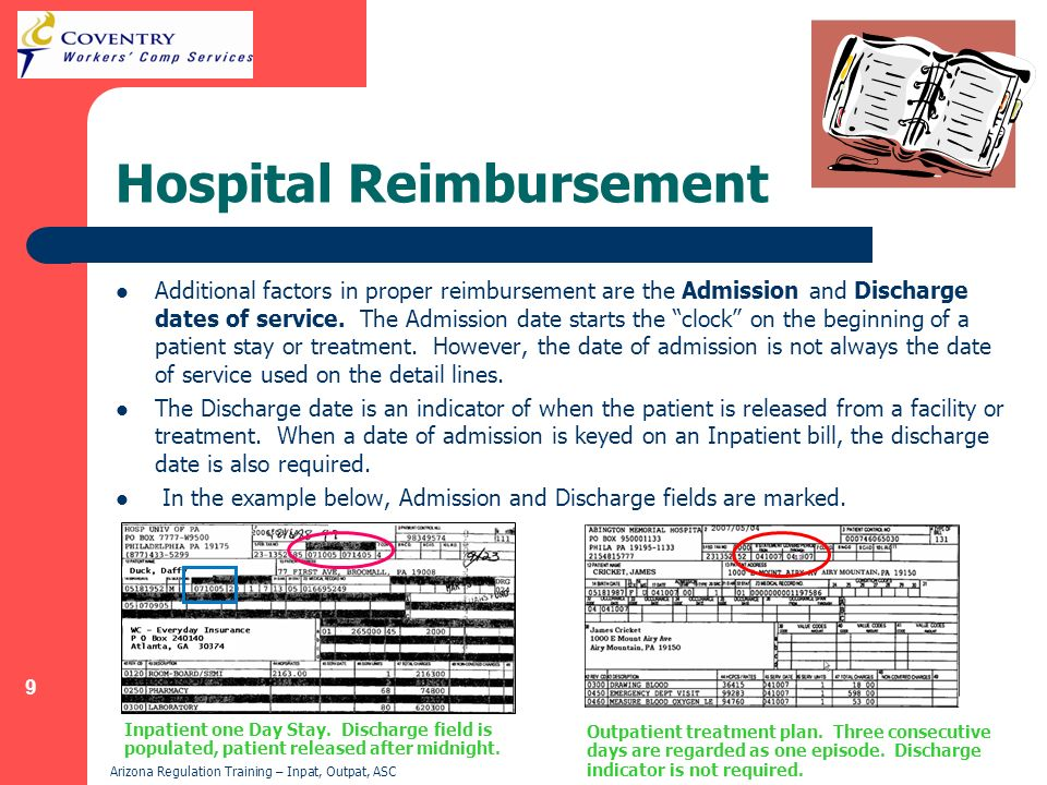 9 Arizona Regulation Training – Inpat, Outpat, ASC Hospital Reimbursement Additional factors in proper reimbursement are the Admission and Discharge d