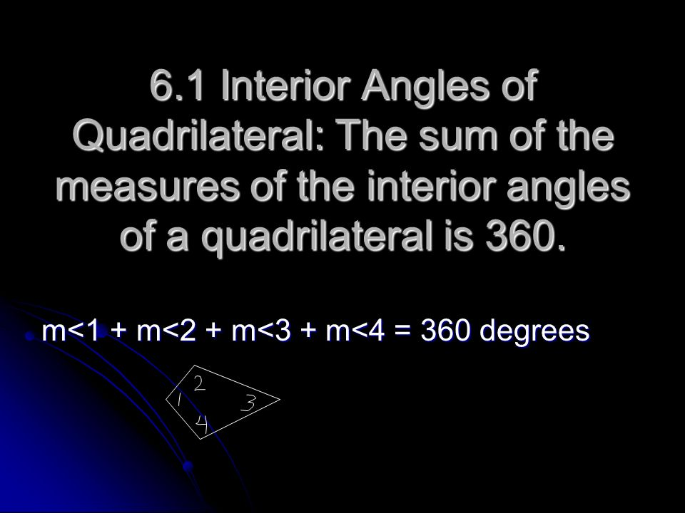 6.1 Interior Angles of Quadrilateral: The sum of the measures of the interior angles of a quadrilateral is 360. m<1 + m<2 + m<3 + m<4 = 360 degrees