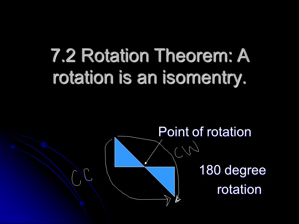 7.2 Rotation Theorem: A rotation is an isomentry. Point of rotation Point of rotation 180 degree 180 degree rotation rotation