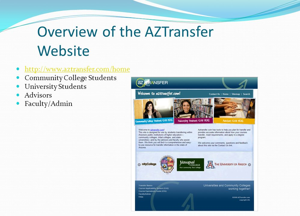 Overview of the AZTransfer Website http://www.aztransfer.com/home Community College Students University Students Advisors Faculty/Admin