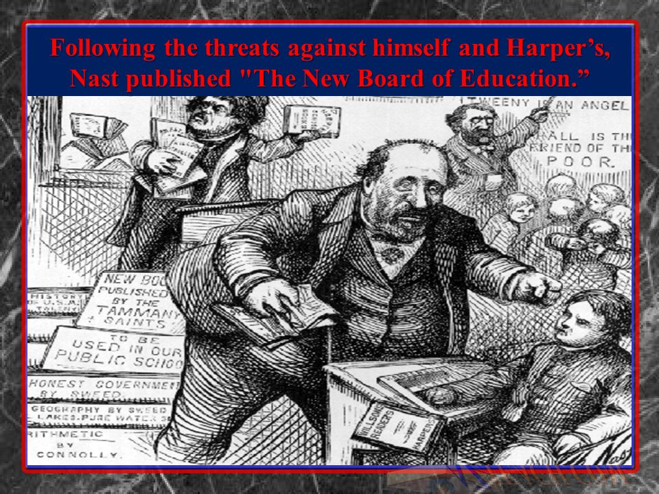 Tweed Tries to Influence Nasts Publisher With the unsuccessful campaign to bribe Nast, next Tweed tried to intimidate Harpers Brothers by threatening