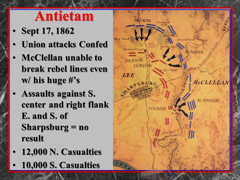 Sept 17, 1862Sept 17, 1862 Union attacks ConfedUnion attacks Confed McClellan unable to break rebel lines even w/ his huge #sMcClellan unable to break