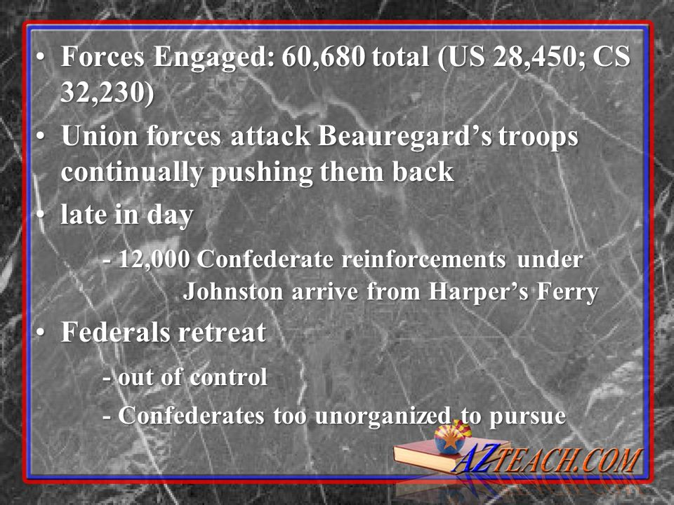 Forces Engaged: 60,680 total (US 28,450; CS 32,230)Forces Engaged: 60,680 total (US 28,450; CS 32,230) Union forces attack Beauregards troops continua