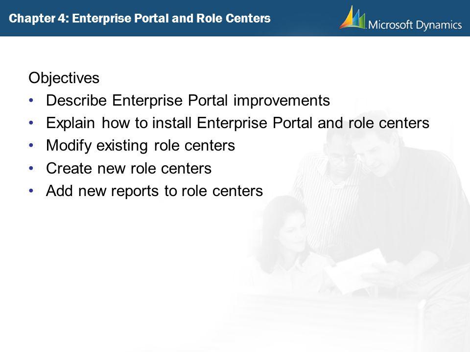 Chapter 4: Enterprise Portal and Role Centers Objectives Describe Enterprise Portal improvements Explain how to install Enterprise Portal and role cen