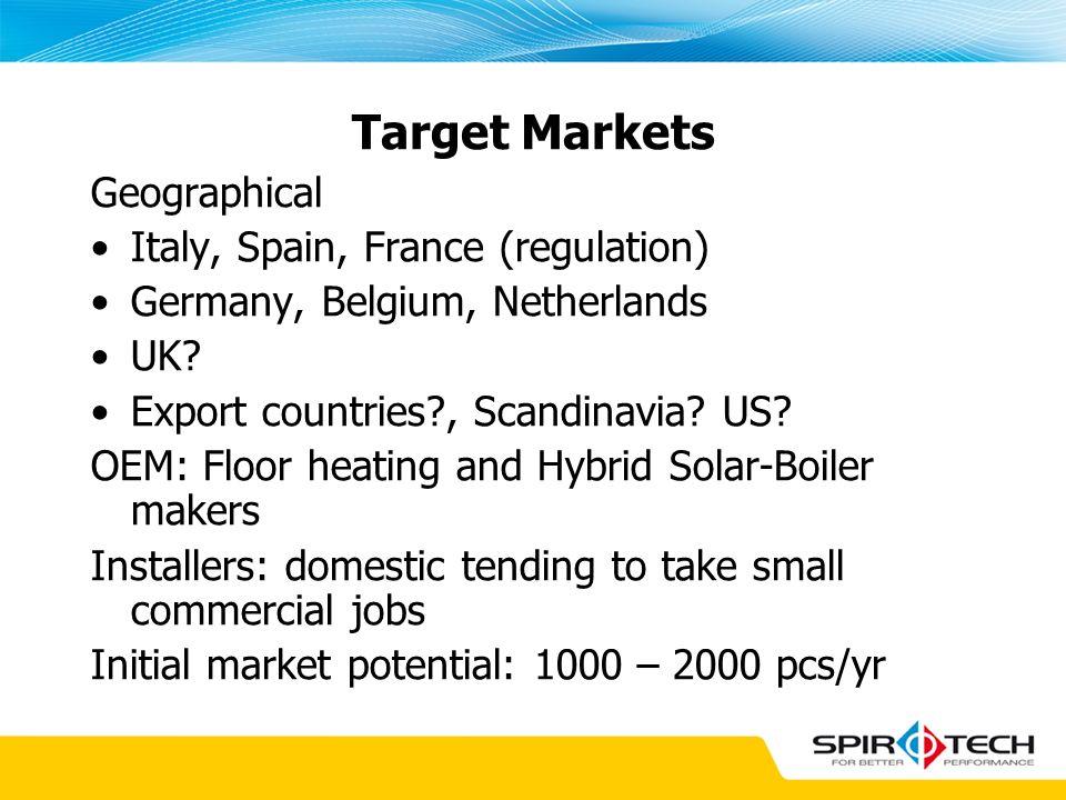 Target Markets Geographical Italy, Spain, France (regulation) Germany, Belgium, Netherlands UK? Export countries?, Scandinavia? US? OEM: Floor heating