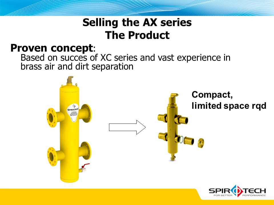 Proven concept : Based on succes of XC series and vast experience in brass air and dirt separation Selling the AX series The Product Compact, limited