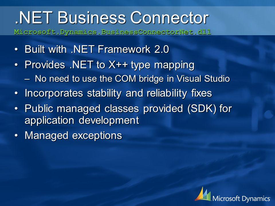 .NET Business Connector Microsoft.Dynamics.BusinessConnectorNet.dll Built with.NET Framework 2.0Built with.NET Framework 2.0 Provides.NET to X++ type