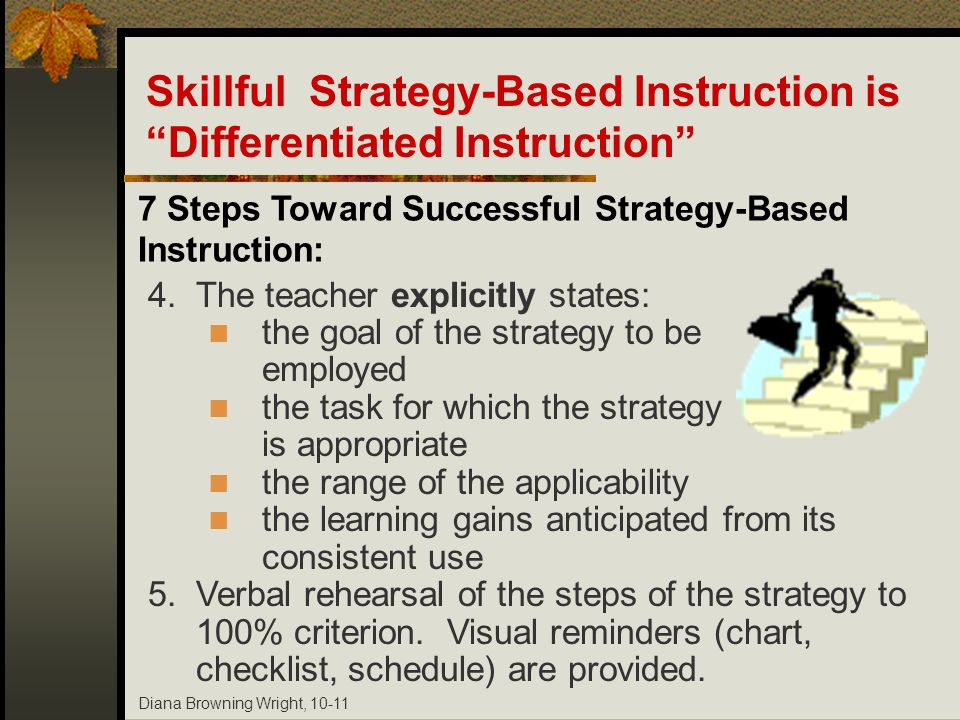 Diana Browning Wright, 10-11 7 Steps Toward Successful Strategy-Based Instruction: 4.The teacher explicitly states: the goal of the strategy to be emp
