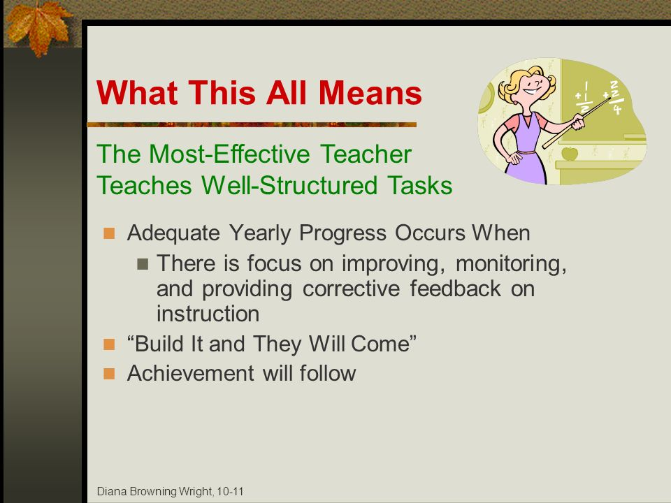 Diana Browning Wright, 10-11 What This All Means Adequate Yearly Progress Occurs When There is focus on improving, monitoring, and providing correctiv
