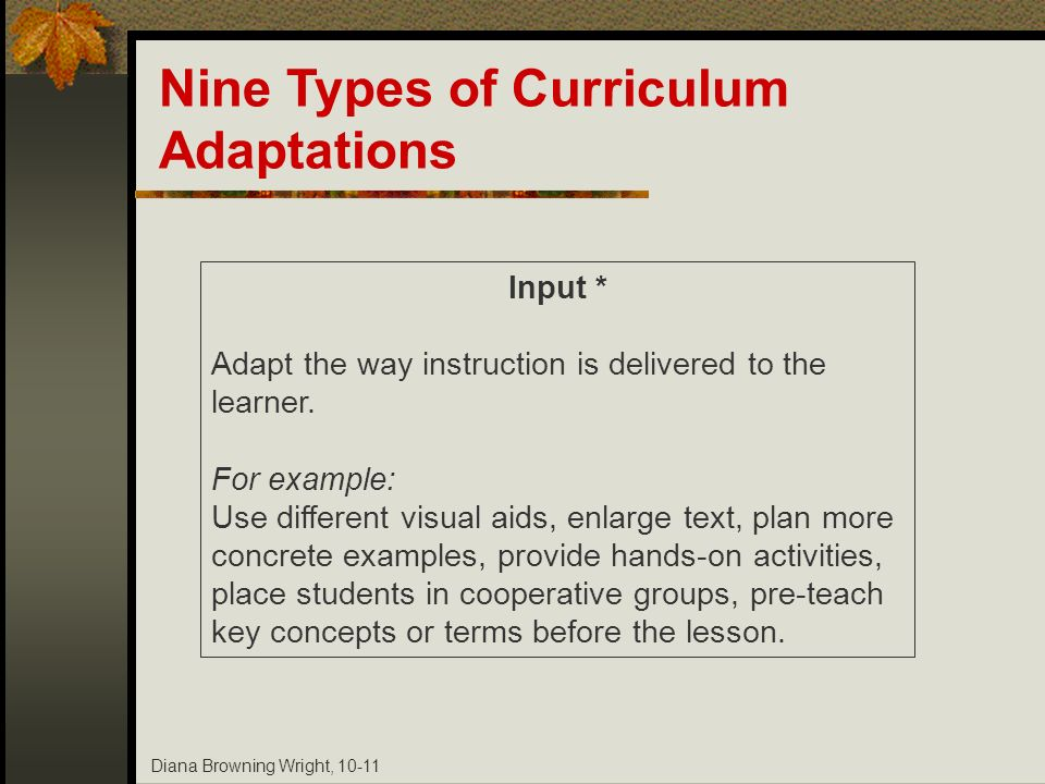 Diana Browning Wright, 10-11 Input * Adapt the way instruction is delivered to the learner. For example: Use different visual aids, enlarge text, plan