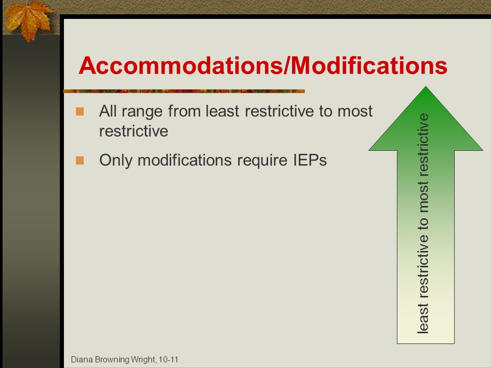 Diana Browning Wright, 10-11 Accommodations/Modifications All range from least restrictive to most restrictive Only modifications require IEPs least r
