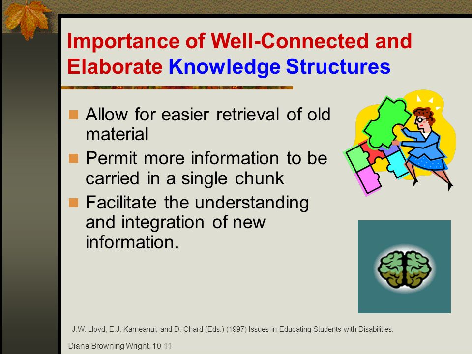 Diana Browning Wright, 10-11 Importance of Well-Connected and Elaborate Knowledge Structures Allow for easier retrieval of old material Permit more in