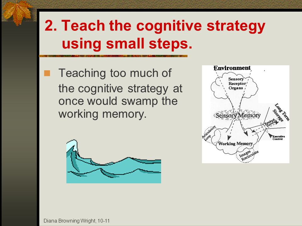 Diana Browning Wright, 10-11 2. Teach the cognitive strategy using small steps. Teaching too much of the cognitive strategy at once would swamp the wo
