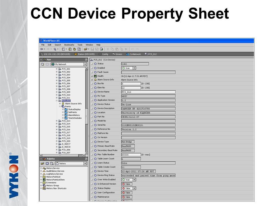CCN Device Property Sheet