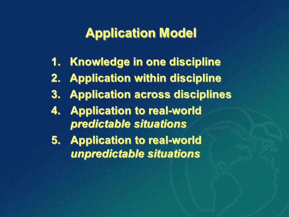 Application Model Application Model 1. Knowledge in one discipline 2. Application within discipline 3. Application across disciplines 4.Application to