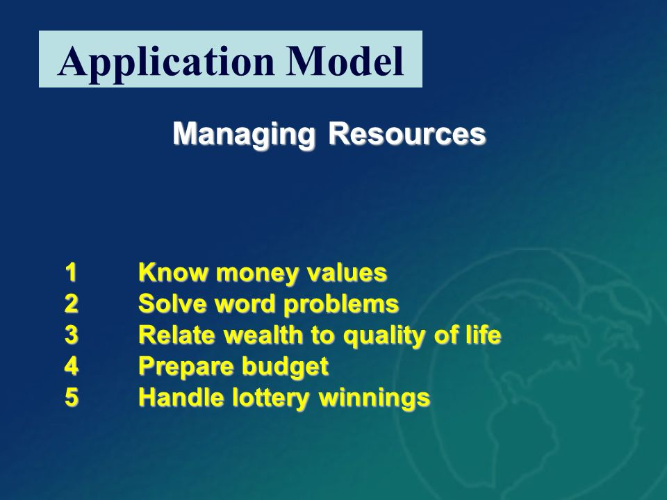 Managing Resources 1Know money values 2Solve word problems 3Relate wealth to quality of life 4Prepare budget 5Handle lottery winnings Application Mode