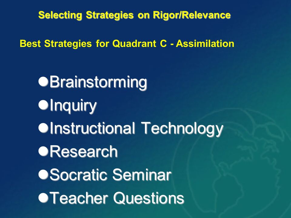Brainstorming Brainstorming Inquiry Inquiry Instructional Technology Instructional Technology Research Research Socratic Seminar Socratic Seminar Teacher Questions Teacher Questions Selecting Strategies on Rigor/Relevance Best Strategies for Quadrant C - Assimilation