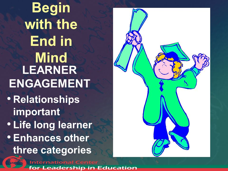 Begin with the End in Mind LEARNER ENGAGEMENT Relationships important Life long learner Enhances other three categories