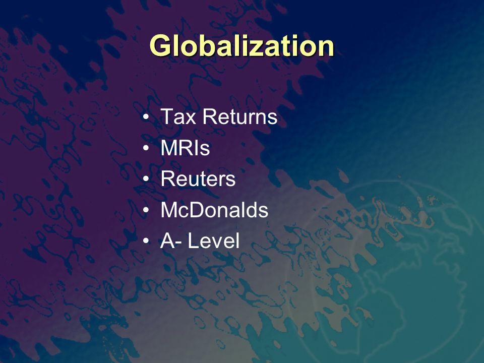 Globalization Tax Returns MRIs Reuters McDonalds A- Level