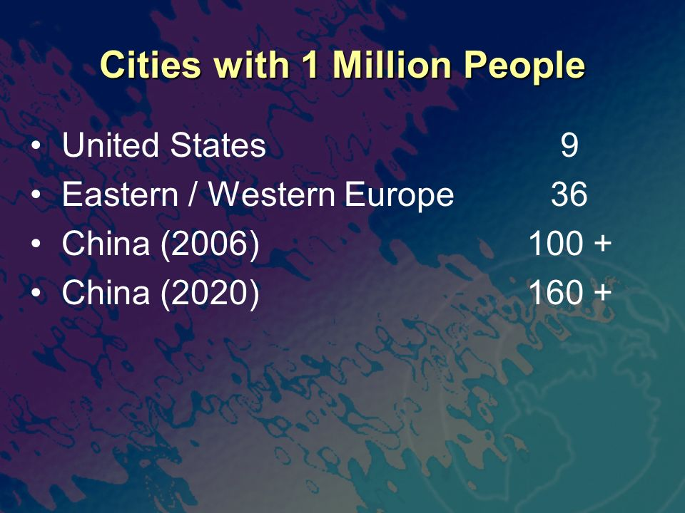 Cities with 1 Million People United States Eastern / Western Europe China (2006) China (2020) 9 36 100 + 160 +