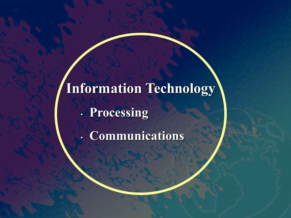Information Technology Processing Processing Communications Communications