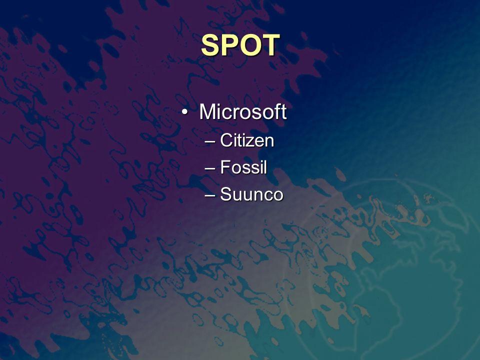 SPOT MicrosoftMicrosoft –Citizen –Fossil –Suunco