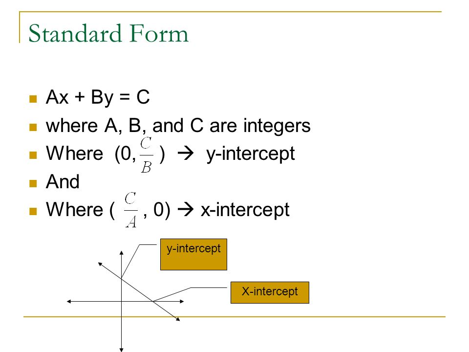Standard Form Ax + By = C where A, B, and C are integers Where (0, ) y-intercept And Where (, 0) x-intercept X-intercept y-intercept