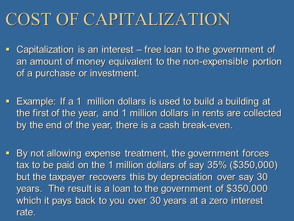 COST OF CAPITALIZATION Capitalization is an interest – free loan to the government of an amount of money equivalent to the non-expensible portion of a