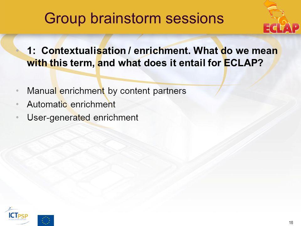 Group brainstorm sessions 1: Contextualisation / enrichment.