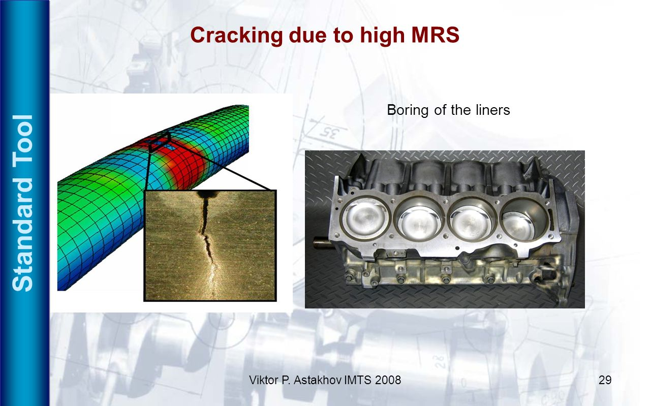 Viktor P. Astakhov IMTS 200829 Cracking due to high MRS Standard Tool Boring of the liners