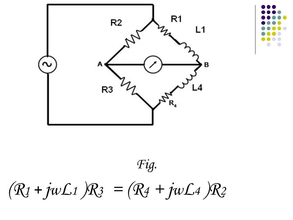 Fig. (R 1 + j w L 1 )R 3 = (R 4 + j w L 4 )R 2