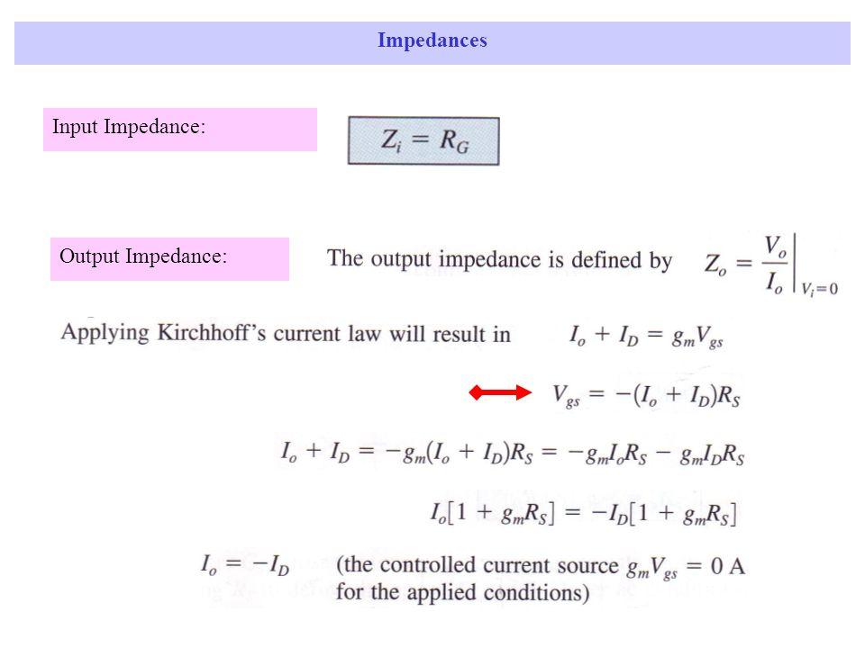 Impedances Input Impedance: Output Impedance: