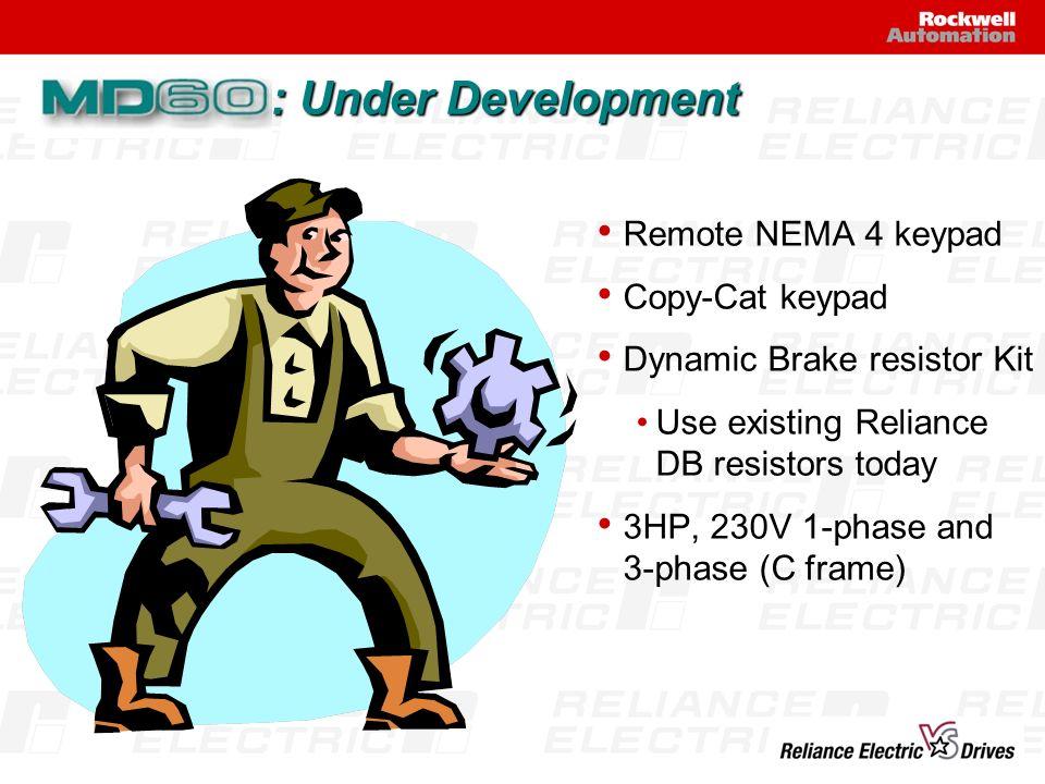 Remote NEMA 4 keypad Copy-Cat keypad Dynamic Brake resistor Kit Use existing Reliance DB resistors today 3HP, 230V 1-phase and 3-phase (C frame) : Und