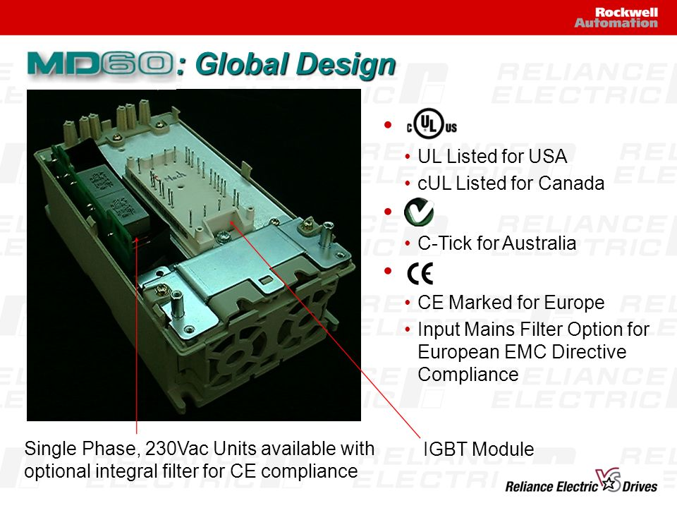 : Global Design Single Phase, 230Vac Units available with optional integral filter for CE compliance IGBT Module UL Listed for USA cUL Listed for Cana