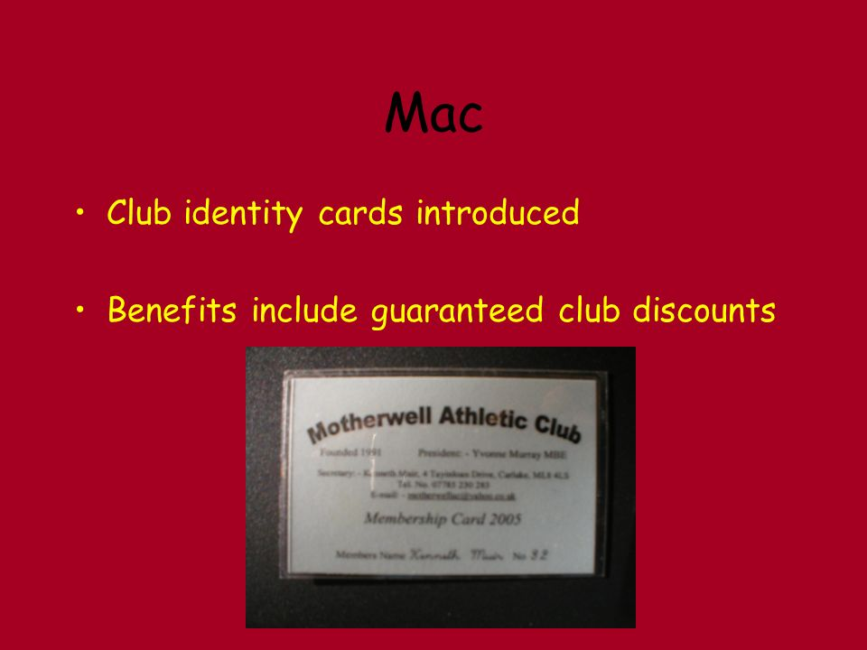 Mac Club identity cards introduced Benefits include guaranteed club discounts