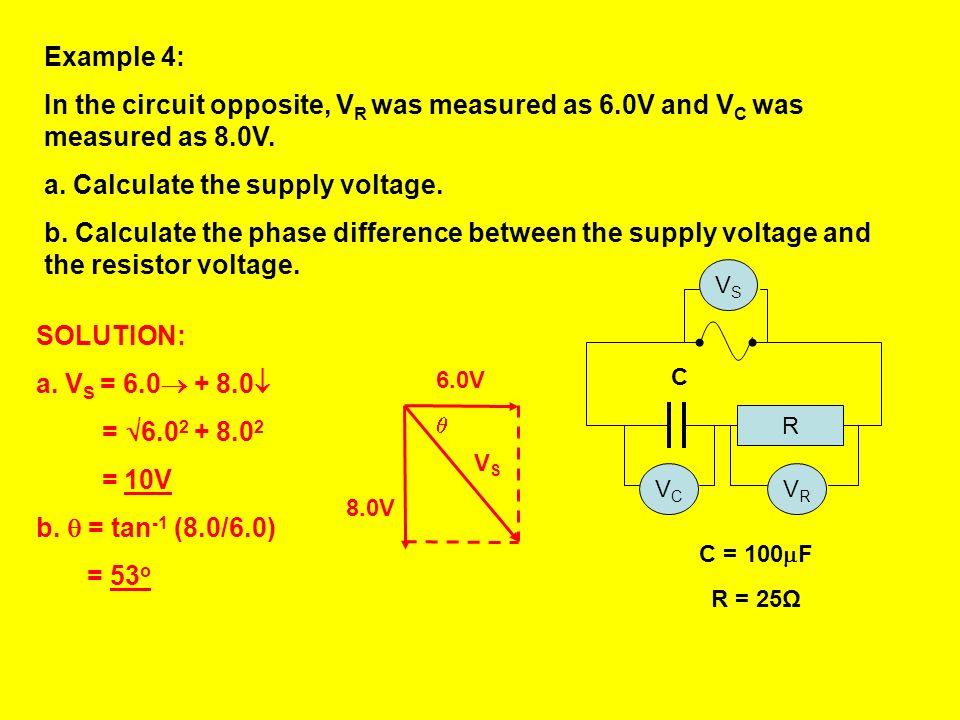 VRVR Phasor diagram for t = 0 on resistor voltage-time graph t VRVR VCVC t VCVC Phasor diagram for t = 0 on capacitor voltage-time graph The angle bet