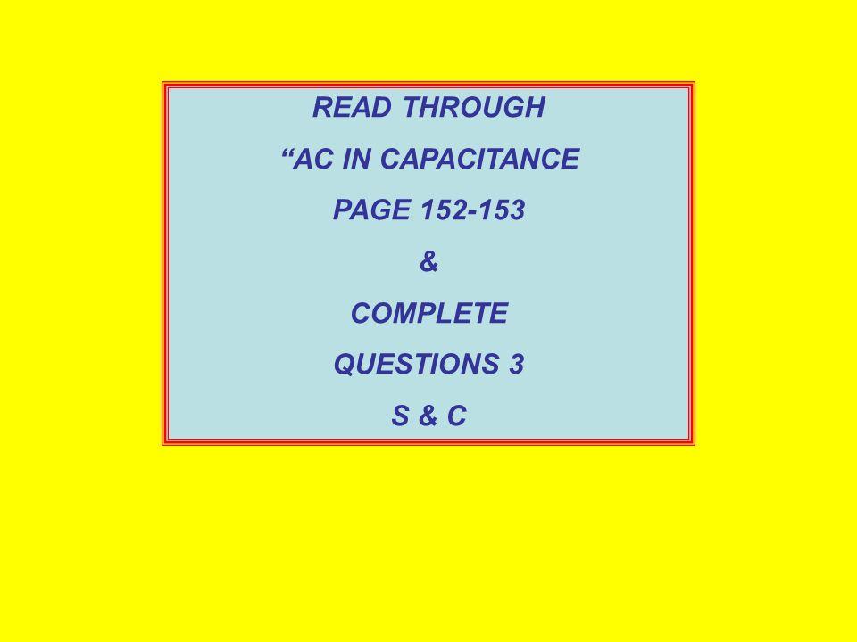 SOLUTION: a.R = V R / I = 10/0.50 = 20Ω b.X C = V C / I = 10/0.25 = 40Ω c. X C = 1/2 fC = 1 / (2 x 50 x 40) = 80x10 -6 F d.Z = R 2 + X C 2 = 20 2 + 40