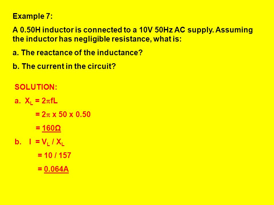 The proportionality constant in this relationship is: 2 The reactance of a inductor L, with supply of frequency f, is given by: X L = 2 fL OR X L = L