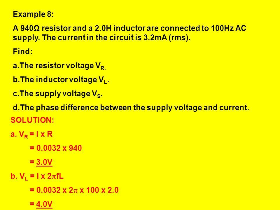 VRVR Phasor diagram for t = 0 on resistor voltage-time graph t VRVR VLVL t VLVL Phasor diagram for t = 0 on inductor voltage-time graph The angle betw