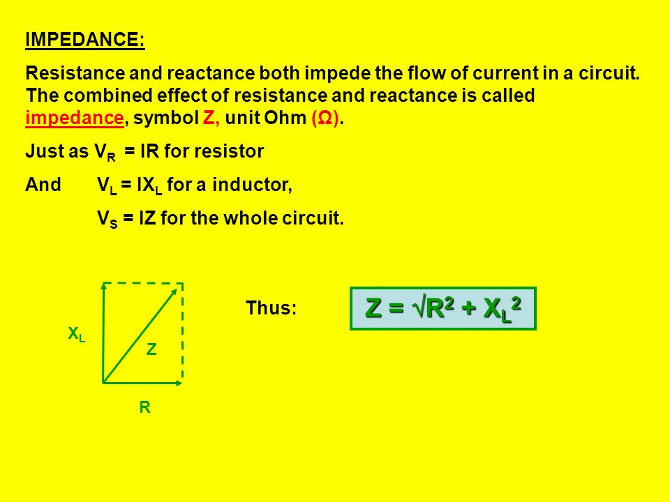 c. V S 2 = V L 2 + V R 2 = 4 2 + 3 2 = 25 = 5.0V d. The current is in phase with the resistor voltage, and so is the phase difference: = tan -1 (4.0/3
