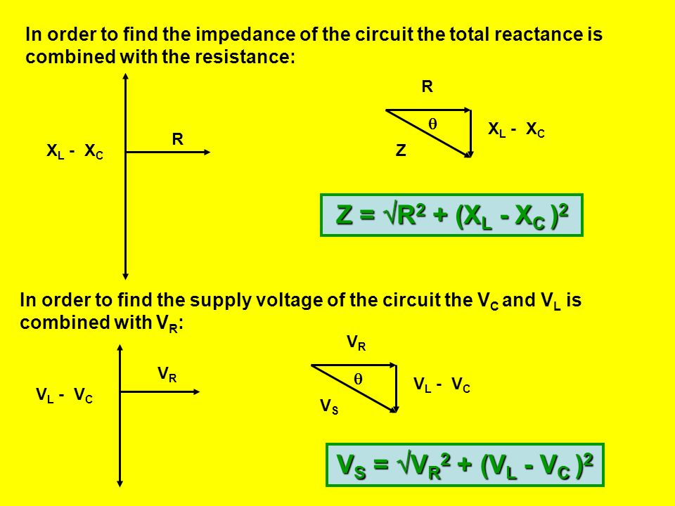 A VARIABLE FREQUENCY AC R LC Constant voltage An LCR circuit X L = 2 fL X C = 1/2 fC R In the above phasor diagram the total reactance is the differen