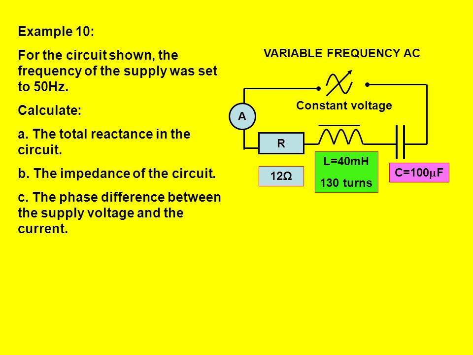 In order to find the impedance of the circuit the total reactance is combined with the resistance: X L - X C R R Z Z = R2 + (XL - XC )2 In order to fi