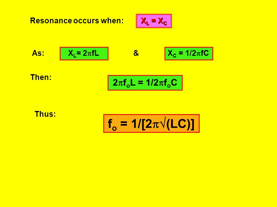 When the resonant frequency has been reached we stated that the circuit has been tuned. We know that current is inversely proportional to impedance as