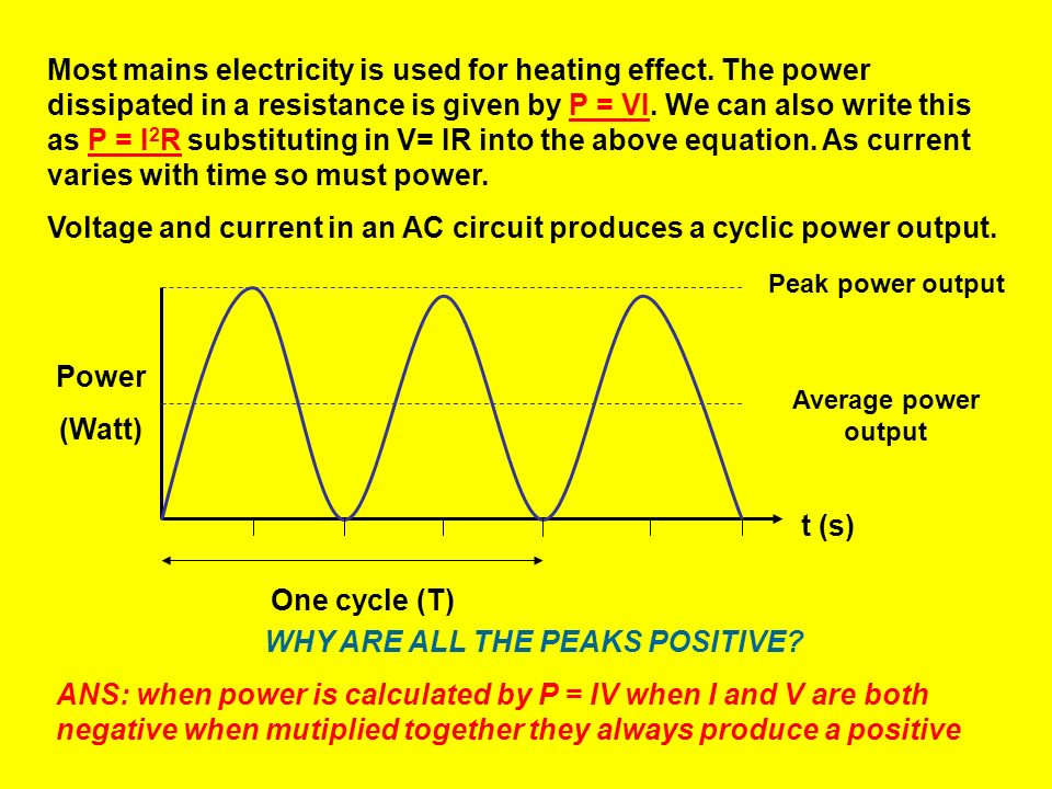 When this voltage is applied to a resistive circuit, the resulting current will also be alternating and sinusoidal: I = V/R I = (V max sin t) /R Thus: