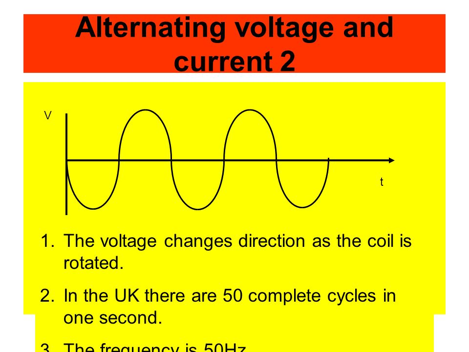 Alternating voltage and current 2 1.The voltage changes direction as the coil is rotated.
