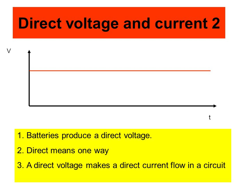 Direct voltage and current 2 1.Batteries produce a direct voltage. 2.Direct means one way 3.A direct voltage makes a direct current flow in a circuit