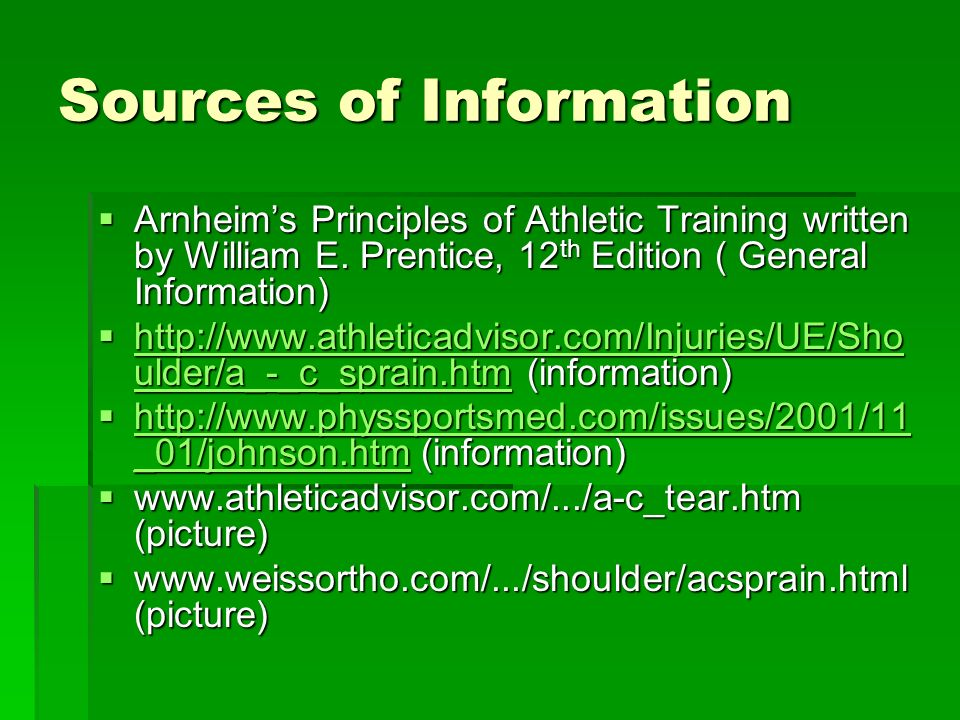 Sources of Information Arnheims Principles of Athletic Training written by William E.